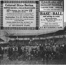 The Dallas Black Giants were professional and semi-professional baseball teams based in Dallas, TX which played in the Negro Leagues. They played their home games at the original Gardner Park prior to it burning down, Riverside Park and Steer Stadium (aka Burnett Field). In the 1920s and 1930s, live jazz was featured during the games. Beauty contests became a feature in games during the 1930s. One of the best known players on the Black Giants was shortstop Ernie Banks,