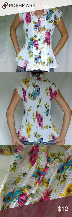 Cato Large Floral Button Down Blouse Career Girl Beautiful floral pattern in this chiffon career top. Size Large and in fantastic condition never worn. Has buttons going down front and ruffles. Very beautiful top perfect for office or date. Cato Tops Blouses