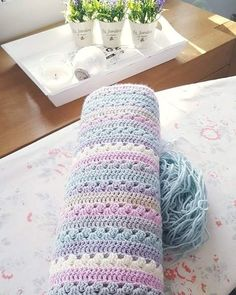 clematis , silver, duck egg, parma violet, parchment and cream x (good daylight helps I think ) Today's prettiness by crochetandfairylights Crochet Crafts, Crochet Yarn, Easy Crochet, Crochet Stitches, Crochet Projects, Crochet Hooks, Attic 24 Crochet, Crochet Blankets, Baby Blankets