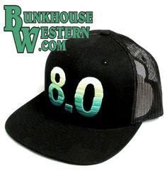 premium selection 151ef afef3 Roughy, 8.0, Black Trucker Hat, HOOey Flatbill Cap, 8 Second Ride,