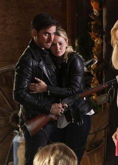 Colin O'Donoghue -Killian Jones - Captain Hook and  Jennifer Morrison - Emma Swan on Once Upon A Time 6x3