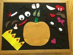 Jack-O-Lantern face felt pieces.the kids will love this! Halloween Theme Preschool, Halloween Themes, Fall Halloween, Halloween Crafts, Preschool Ideas, Craft Ideas, Daycare Ideas, Fun Ideas, Homemade Larabars