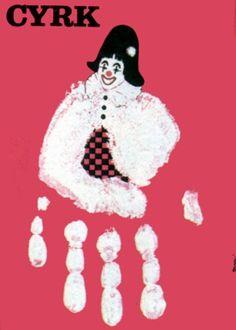 Circus Clown - handprint red Cyrk, dlon czerwona Pagowski Andrzej Polish Poster
