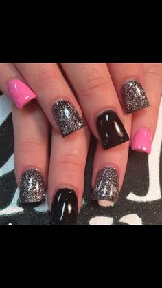 Sparkly Silver Pink and Black Nails