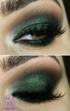 Smokey green eye makeup / sexy winter 2015