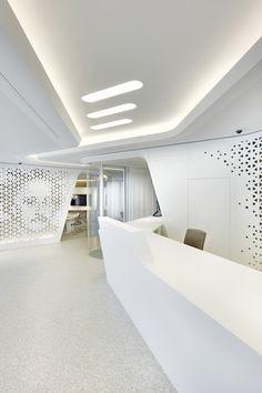 My eyes open architecture design, white reception desk, reception design, r Lobby Design, Design Entrée, Modern Design, Graphic Design, Futuristic Interior, Futuristic Design, Corporate Interiors, Office Interiors, Shop Interiors