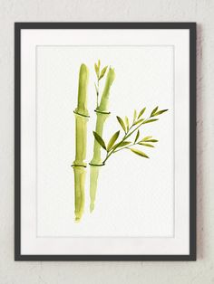 Bamboo Leaves Watercolor Painting Green Living Room Wall Decor, Bamboos Plant Sticks Art Print, Abstract Floral Chinese Japanese Home Decor by ColorWatercolor on Etsy Bamboo Leaves, Bamboo Plants, Bamboo Stalks, Watercolor Plants, Watercolor Paintings, Japanese Home Decor, Stick Art, Living Room Green, Room Wall Decor