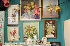 Beautifully displayed collection of vintage florals. Oh, and that wall colour makes me swoon!