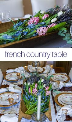 This simple but elegant table is set to reflect the French Country style of the dining room, working seamlessly with the decor around it. Modern French Country, French Farmhouse Decor, French Country Decorating, French Table Setting, Country Table Settings, Country Interior Design, Table Setting Inspiration, Dining Room, Dining Table