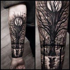 Bruno Santos - Page 3 of 3 - Tattood Lifestyle Magazine Tree Sleeve Tattoo, Skull Sleeve Tattoos, Best Sleeve Tattoos, Forest Forearm Tattoo, Calf Tattoo, Meaningful Tattoos For Family, Forarm Tattoos, Tatoos, Rune Tattoo