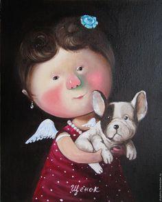 Купить Картина маслом Щенок Е. Гапчинская - картина, картина маслом, Живопись, гапчинская