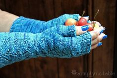 Warm, but light, Herbaceous mitts are just the ticket for cool fall days. Thebranched leaves lace patterngrows out of the lower ribbingand twines up the front of these long lacey mitts. Knit in the round, they knit up surprisingly fast in a fingering weight yarn. The pattern shows up best in a solid or tonal …