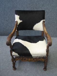 black and White cowhide on a vintage empire chair www.retropiahomewares.com.au