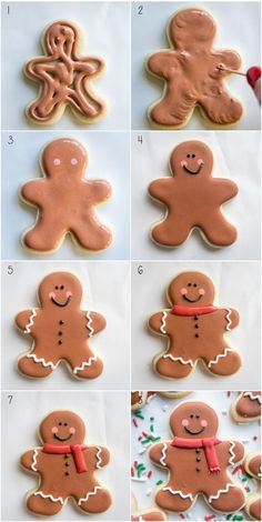 Step by step to making gingerbread men sugar cookies. - The Trick to Making Your Very Own Candy Corn Cookies PressingDoughforCandyCornCookies Gingerbread Man Cookies, Christmas Sugar Cookies, Christmas Sweets, Christmas Cooking, Holiday Cookies, Decorating Gingerbread Men, Decorated Christmas Cookies, Christmas Gingerbread Men, Christmas Biscuits