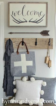 My winter entry featuring a new sign in the Hymns and Verses Etsy Shop - Welcome sign with antlers. Also a DIY swiss cross wool tote. Rustic Farmhouse Decor, Farmhouse Chic, Hallway Shelf, Hallway Ideas, Revere Pewter Benjamin Moore, Diy Wood Projects, Decorating Blogs, Antlers, Paint Colors