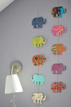 Diy wall decor - simple shape, different fabrics