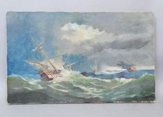 Antique-c1911-Oil-Painting-on-Canvas-Spanish-Galleon-Seascape-Signed-Stever