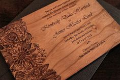 Engraved Wood Wedding Invitations  Fleur by nGraveSolutions