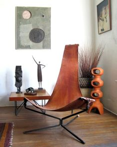 leather and metal frame chair