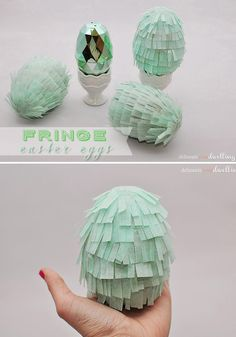 How to create a Mint Green Easter Fringed Egg!  Perfect to set out in a glass bowl for spring decor, too.  Delineateyourdwelling.com