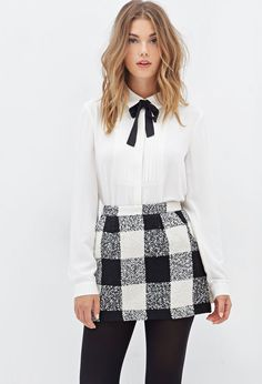Plaid Bouclé Mini Skirt - Skirts - 2000100840 - Forever 21 EU