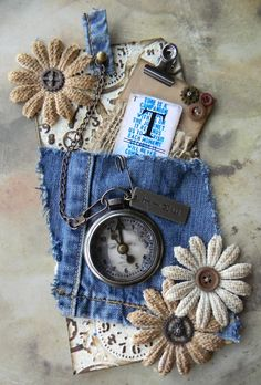 Cloth tag - The Artful Maven Haven: Time For A Pocket Watch - could easily see this as an embellishment on a scrapbook page.