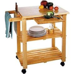 Butcher Block Island Cart Table Kitchen Rack Cutting Board Shelf Rolling Stand A