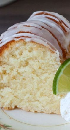 Key Lime Pound Cake Recipe for St. Patrick's Day ~ A sweet, moist, dense key lime pound cake drizzled with a tart key lime glaze. A delicious Southern twist to a traditional pound cake.