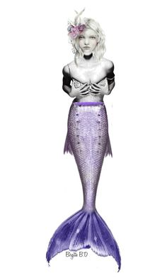 """""""ItemsCollectionsContest 3 Item Challenge Contest with """"Purple Mermaid Tail"""" for Odditie"""" by birgitte-b-d ❤ liked on Polyvore featuring art, contest, doll and mermaid"""