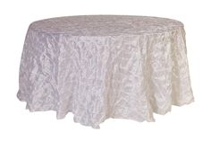 THIS IS A BEAUTIFUL TABLECLOTH, AND THIS COMPANY HAS SOME AMAZING DEALS. I JUST LOVE THIS  FABRIC, AND IT LOOKS SO ELEGANT.  Your Chair Covers Inc. - 120 inch Pinwheel Pinched Taffeta Round Tablecloths White, $22.49 (http://www.yourchaircovers.com/120-inch-pinwheel-pinched-taffeta-round-tablecloths-white/)