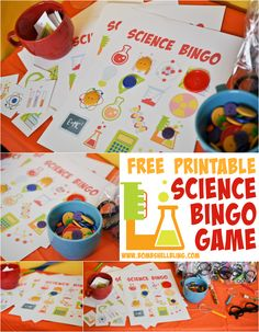 """This AWESOME and FREE printable Science Bingo game is part of the cutest """"Nerdy Thirty"""" birthday party, but could be used at any science themed party or even in a classroom!"""