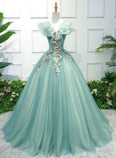 Gorgeous Green Long Tulle with Lace Applique Sweet 16 Dress, Green For – BeautyDressy