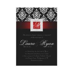 from zazzle invitations elegant wedding damask jewels red black white ...