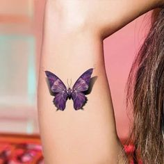 3D Butterfly Tattoo Body Art Colored Drawing Waterproof Stickers 3d Stickers Sexy Tatoo 3d Purple Designs Paste