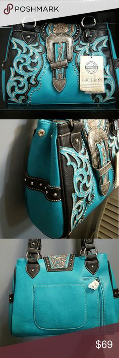 NEW Turquoise Montana WEST Concealed Purse New with tags. Montana west purse. Turquoise. Concealed carry. 13 x 5.5 x 10 inches. Montana West Bags Shoulder Bags