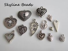 Tibetan Heart Charms / Pendants  Antique Silver by SkylineBeads, $3.95