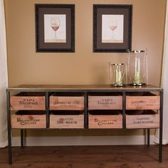 Our Vino Vintage Console Table is constructed from hand-worked steel and vintage wine crates for storage. The table contains 8 manual slide-out wine crates. Crate Furniture, Country Furniture, Primitive Furniture, Furniture Dolly, Vintage Furniture, Furniture Ideas, Bedroom Furniture, Country Coffee Table, Wine Country