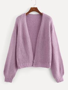 SheIn offers Open Front Bishop Sleeve Jumper & more to fit your fashionable needs. Sweater And Shorts, Sweater Jacket, Knit Cardigan, Date Outfit Casual, Casual Outfits, Wooly Jumper, Cute Dresses, Summer Dresses, Party Dresses
