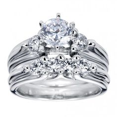 Contemporary Three Stone Engagement Ring Setting ER3751W44JJ