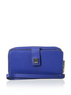 55% OFF LODIS Women's Saffiano Leather Tech Wallet, Blue