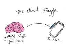 the eternal struggle. (of the writer)