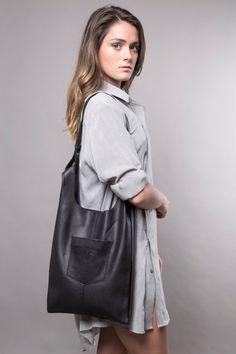 Leather tote bag - women bags CHRISTMAS SALE- soft leather handbag- everyday bag - shoulder bag- leather shopper bag- black leather bag