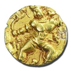 DINAR | Coins of Gupta Dynasty | Ruler / Authority : Kumaragupta - I (Mahendraditya) | Denomination : Dinar | Metal : Gold | Weight (gm) : 7 - 8 | Size (mm) : 19-22 | Shape : Round | Types/Series : Tiger Slayer Type | Minting Technique: Die struck |