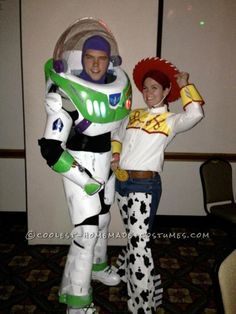 Awesome Buzz Lightyear and Jessie Homemade Halloween Costume... This website is the Pinterest of costumes