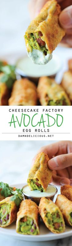 Cheesecake Factory Avocado Egg Rolls- I have never tried them but everything about this sounds yummy! Cheesecake factory copycat recipe for avacado egg rolls. Think Food, I Love Food, Food For Thought, Good Food, Yummy Food, Tasty, Yummy Veggie, Avocado Recipes, Healthy Recipes