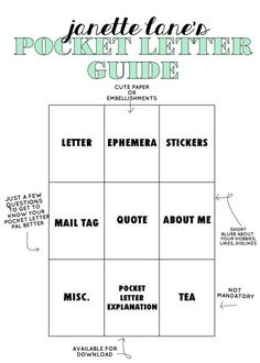 """Hello friends! Today I'm sharing a Pocket Letter Guide that gives an explanation about what to include in your Pocket Letter. This guide is very similar to the one I posted on my Youtube video, """"Basic"""