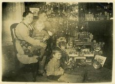 "Vintage Photo ""Good Boy and Girl"" Christmas Snapshot Photo Old Antique Photo…"