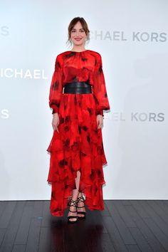 Dakota Johnson Style: Michael Kors Red Dress at Tokyo Store Event