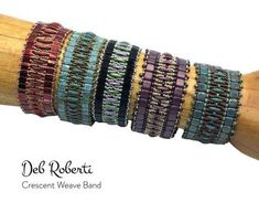 Stacked Crescent Weave Band beaded pattern tutorial by Deb Roberti Seed Bead Bracelets, Seed Beads, Bead Jewelry, Jewelery, Pattern Design, Free Pattern, Beading Patterns Free, Bead Patterns, Embroidery Patterns