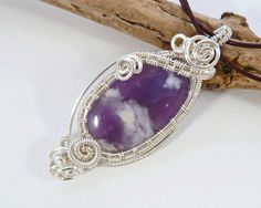 Gemstone Wire Wrapped Pendant  Purple by BeauBellaJewellery #wirewrapped #gemstone #valentinesgift
